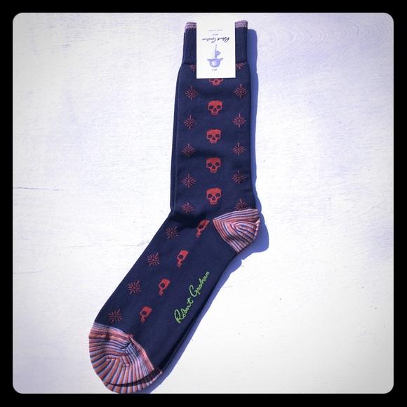 Robert Graham Peru cotton Mid Calf socks Blue People